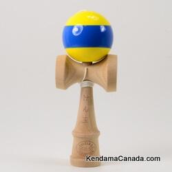 Kendama Canada – Kendama KCS – balle jaune bande bleue - Yellow ball with blue Stripe