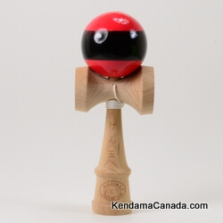 Kendama Canada – Kendama KCS – balle rouge bande noire - Red ball with black Stripe