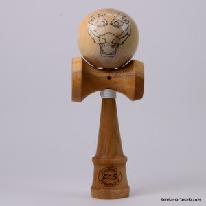 Kendama Canada  Kendama KCS du Qubec  Collection Prestige  modle Unique au monde en Cerisier  balle rable Face de Dragon