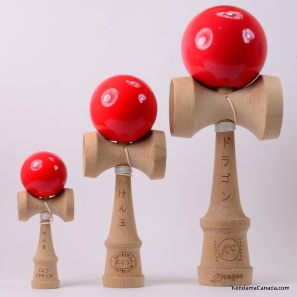 Kendama Canada – Kit de 3 kendamas – Kit Trio 3 formats de 3 kendama rouges - 3 different sizes red kendama kit
