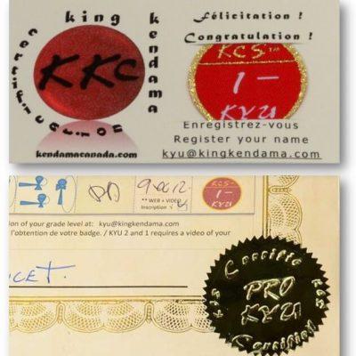 Kendama Canada – Badges de Certifications PRO KYU – Kyu 1 et Sceau doré pour Certificat