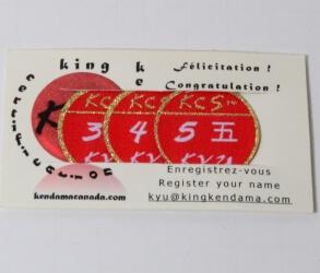 Kendama Canada – Badges de Certifications PRO KYU – Kyu 5, Kyu 4 et Kyu 3