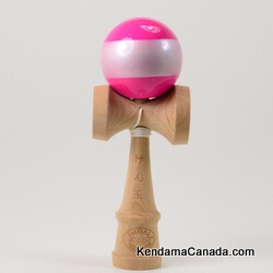 Kendama Canada – Kendama KCS – balle rose bande blanche métallique – Pink ball with pearl Stripe - Rose bande perle