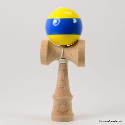 Kendama Canada – Kendama KCS – balle jaune à large bande bleue - Stripe kendama