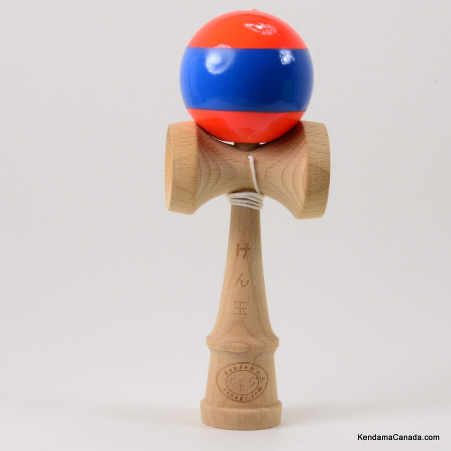 Kendama Canada – Kendama KCS – balle orange à large bande bleue - Stripe kendama